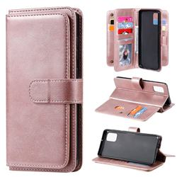 Multi-function Ten Card Slots and Photo Frame PU Leather Wallet Phone Case Cover for Samsung Galaxy A31 - Rose Gold