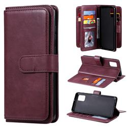 Multi-function Ten Card Slots and Photo Frame PU Leather Wallet Phone Case Cover for Samsung Galaxy A31 - Claret