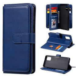 Multi-function Ten Card Slots and Photo Frame PU Leather Wallet Phone Case Cover for Samsung Galaxy A31 - Dark Blue