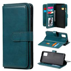 Multi-function Ten Card Slots and Photo Frame PU Leather Wallet Phone Case Cover for Samsung Galaxy A31 - Dark Green