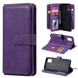 Multi-function Ten Card Slots and Photo Frame PU Leather Wallet Phone Case Cover for Samsung Galaxy A31 - Violet