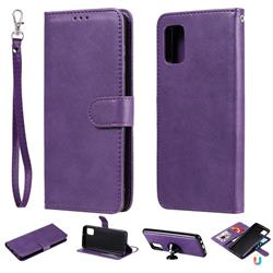 Retro Greek Detachable Magnetic PU Leather Wallet Phone Case for Samsung Galaxy A31 - Purple