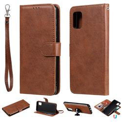 Retro Greek Detachable Magnetic PU Leather Wallet Phone Case for Samsung Galaxy A31 - Brown