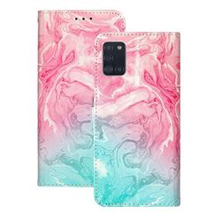 Pink Green Marble PU Leather Wallet Case for Samsung Galaxy A31