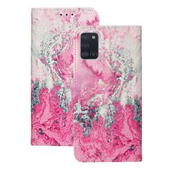 Pink Seawater PU Leather Wallet Case for Samsung Galaxy A31