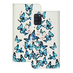 Blue Vivid Butterflies PU Leather Wallet Case for Samsung Galaxy A31