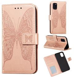 Intricate Embossing Vivid Butterfly Leather Wallet Case for Samsung Galaxy A31 - Rose Gold