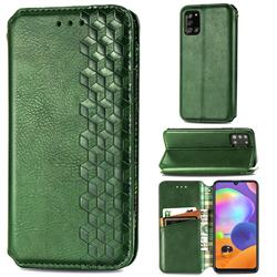 Ultra Slim Fashion Business Card Magnetic Automatic Suction Leather Flip Cover for Samsung Galaxy A31 - Green