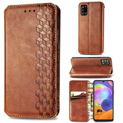 Ultra Slim Fashion Business Card Magnetic Automatic Suction Leather Flip Cover for Samsung Galaxy A31 - Brown
