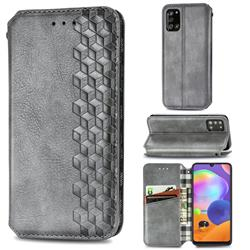 Ultra Slim Fashion Business Card Magnetic Automatic Suction Leather Flip Cover for Samsung Galaxy A31 - Grey