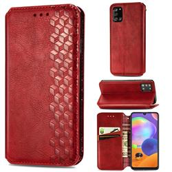 Ultra Slim Fashion Business Card Magnetic Automatic Suction Leather Flip Cover for Samsung Galaxy A31 - Red