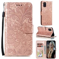 Intricate Embossing Lace Jasmine Flower Leather Wallet Case for Samsung Galaxy A31 - Rose Gold