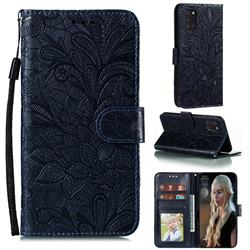 Intricate Embossing Lace Jasmine Flower Leather Wallet Case for Samsung Galaxy A31 - Dark Blue