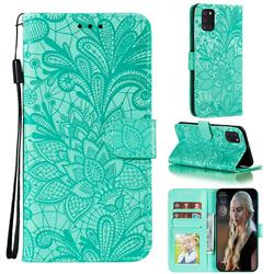 Intricate Embossing Lace Jasmine Flower Leather Wallet Case for Samsung Galaxy A31 - Green