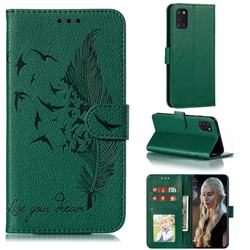 Intricate Embossing Lychee Feather Bird Leather Wallet Case for Samsung Galaxy A31 - Green