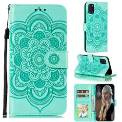 Intricate Embossing Datura Solar Leather Wallet Case for Samsung Galaxy A31 - Green