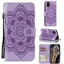Intricate Embossing Datura Solar Leather Wallet Case for Samsung Galaxy A31 - Purple