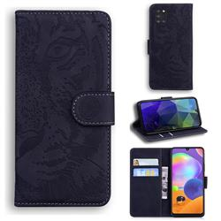 Intricate Embossing Tiger Face Leather Wallet Case for Samsung Galaxy A31 - Black