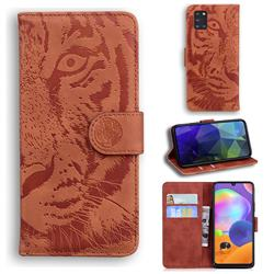 Intricate Embossing Tiger Face Leather Wallet Case for Samsung Galaxy A31 - Brown