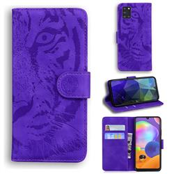 Intricate Embossing Tiger Face Leather Wallet Case for Samsung Galaxy A31 - Purple