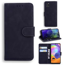Retro Classic Skin Feel Leather Wallet Phone Case for Samsung Galaxy A31 - Black