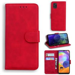 Retro Classic Skin Feel Leather Wallet Phone Case for Samsung Galaxy A31 - Red