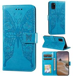 Intricate Embossing Rose Flower Butterfly Leather Wallet Case for Samsung Galaxy A31 - Blue
