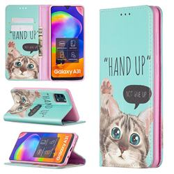 Hand Up Cat Slim Magnetic Attraction Wallet Flip Cover for Samsung Galaxy A31