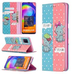 Elephant Boy and Girl Slim Magnetic Attraction Wallet Flip Cover for Samsung Galaxy A31