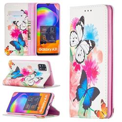 Flying Butterflies Slim Magnetic Attraction Wallet Flip Cover for Samsung Galaxy A31