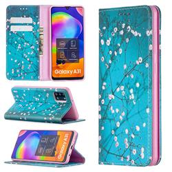 Plum Blossom Slim Magnetic Attraction Wallet Flip Cover for Samsung Galaxy A31