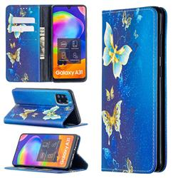 Gold Butterfly Slim Magnetic Attraction Wallet Flip Cover for Samsung Galaxy A31