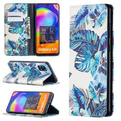 Blue Leaf Slim Magnetic Attraction Wallet Flip Cover for Samsung Galaxy A31