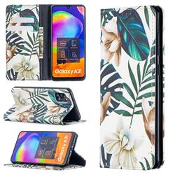 Flower Leaf Slim Magnetic Attraction Wallet Flip Cover for Samsung Galaxy A31