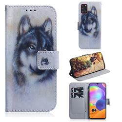 Snow Wolf PU Leather Wallet Case for Samsung Galaxy A31