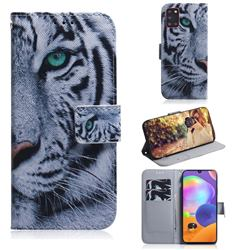 White Tiger PU Leather Wallet Case for Samsung Galaxy A31