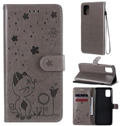Embossing Bee and Cat Leather Wallet Case for Samsung Galaxy A31 - Gray