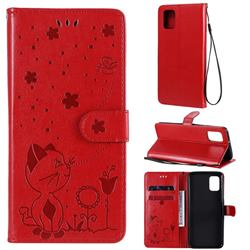 Embossing Bee and Cat Leather Wallet Case for Samsung Galaxy A31 - Red