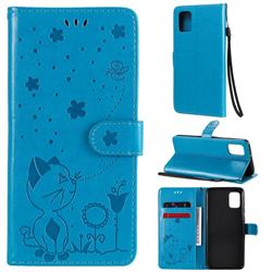 Embossing Bee and Cat Leather Wallet Case for Samsung Galaxy A31 - Blue