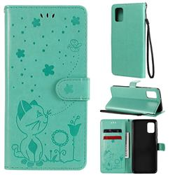 Embossing Bee and Cat Leather Wallet Case for Samsung Galaxy A31 - Green