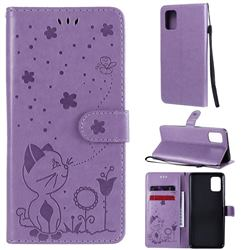 Embossing Bee and Cat Leather Wallet Case for Samsung Galaxy A31 - Purple