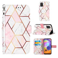 Pink White Stitching Color Marble Leather Wallet Case for Samsung Galaxy A31