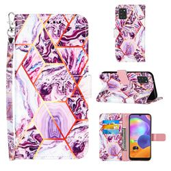 Dream Purple Stitching Color Marble Leather Wallet Case for Samsung Galaxy A31