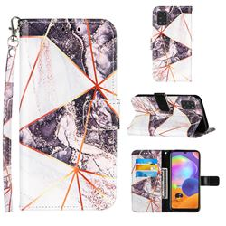 Black and White Stitching Color Marble Leather Wallet Case for Samsung Galaxy A31
