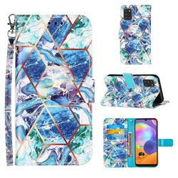 Green and Blue Stitching Color Marble Leather Wallet Case for Samsung Galaxy A31