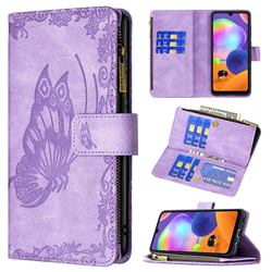 Binfen Color Imprint Vivid Butterfly Buckle Zipper Multi-function Leather Phone Wallet for Samsung Galaxy A31 - Purple