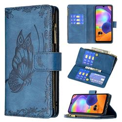 Binfen Color Imprint Vivid Butterfly Buckle Zipper Multi-function Leather Phone Wallet for Samsung Galaxy A31 - Blue