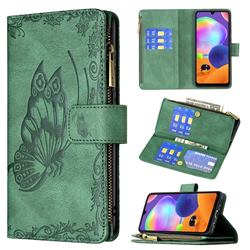 Binfen Color Imprint Vivid Butterfly Buckle Zipper Multi-function Leather Phone Wallet for Samsung Galaxy A31 - Green