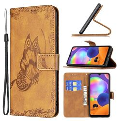 Binfen Color Imprint Vivid Butterfly Leather Wallet Case for Samsung Galaxy A31 - Brown