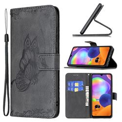 Binfen Color Imprint Vivid Butterfly Leather Wallet Case for Samsung Galaxy A31 - Black